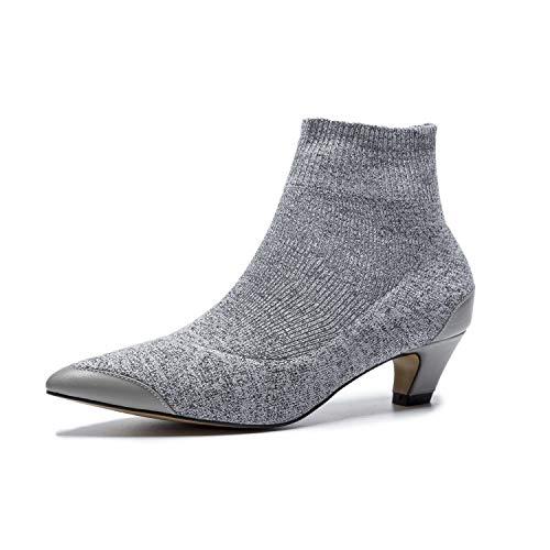 Grey pour Bottes Pointu Lsm Courtes Bottines Femmes B Bout à q8YxwvpxU