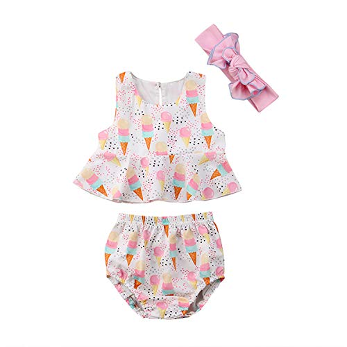 New Cute Newborn Baby Girl Summer Clothes Ice Cream Print Cotton Vest Tank Tops+Baby Bloomers Shorts Headband Outfits 24M]()
