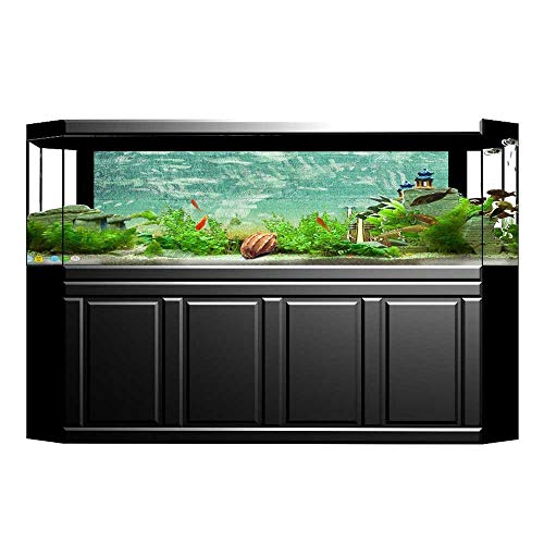(Jiahong Pan Fish Tank Decorations Aged Worn Single Trumpet Stands Alone Against a Faded Wall Theme Sea Green Brown HD Fish Tank Decorations Sticker L23.6 x)