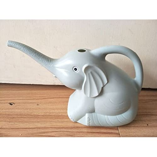 CREJOY Watering Can-Elephant. Decorative Pot For Indoor Outdoor House Plants Easy Pour Small Size Plastic 2 Quart (Gray)