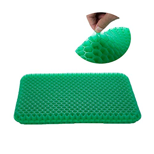 SESEAT Gel Seat Cushion for Office Chair, Comfort Car Coccyx Cushion for Tailbone Pain Relief, Green Gel Cushion with Non Slip Cover for Car, Truck Driver, Wheelchair (Truck Driver Pressure Relieving)