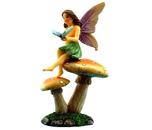 PRETMANNS Fairy Garden Fairy - Miniature Accessories - Garden Fairy & Mushroom Stand Set - Fairy Garden - Fairy Figurine Butterfly