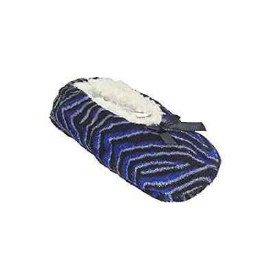Nicole Miller Plush Slipper Socks with Non-Skid Bottom - Blue Small