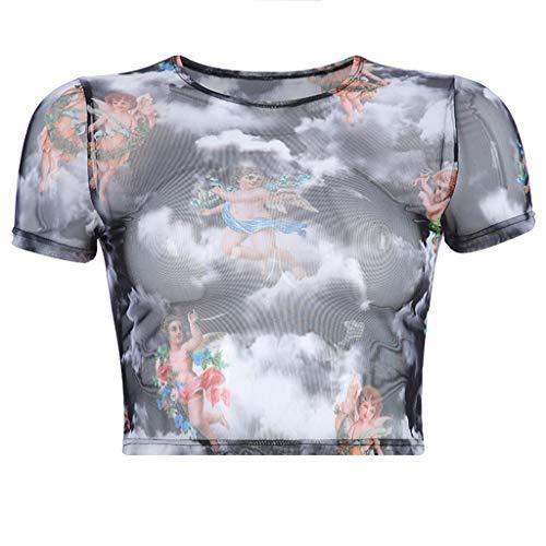 - FACAIAFALO Women's Angel Print Crop Tops Summer Short Sleeve T-Shirt