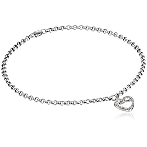 14k White Gold and Diamond Ankle Bracelet (1/10 cttw, H I Color, I2 I3 Clarity), 9.5""