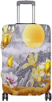 FOLPPLY Butterfly With Floral Print Luggage Cover Baggage Suitcase Travel Protector Fit for 18-32 Inch
