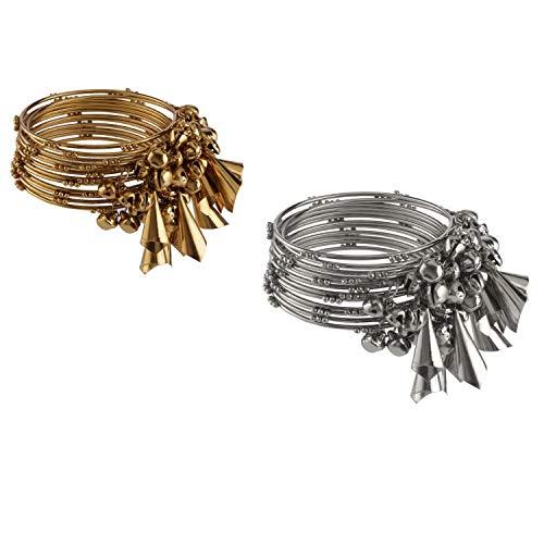 Efulgenz Boho Vintage antiguo gitano tribal indio oxidado plateado borla pulseras conjunto de brazaletes