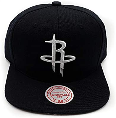 the best attitude 5812f c25e3 Amazon.com   Mitchell   Ness Houston Rockets Black White HWC Current Solid  Wool Adjustable Snapback Hat NBA   Sports   Outdoors