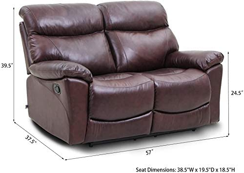 2 Set Sofa Recliner Loveseat Made of Top Grain Leather in Brown