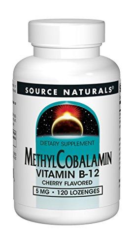 Source Naturals Methylcobalamin Vitamin B-12 5mg Cherry Flavored - 120 Tablets (B-12 Vitamins Natural Source)