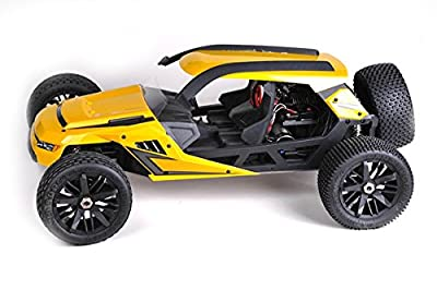 HBX T6 Hammer Head 1/6 Scale 2WD Yellow 55 MPH Plus Desert/Dune Buggy w/2350KV Brushless Motor, Includes 2x7.4V 4200mAh LiPo Batteries & Charger - CIS Associates