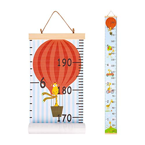 Beinou Baby Wall Ruler Growth Chart Wood Frame Children Height Chart 7.9'' x 79'' Canvas Height Measurement Removable Hanging Ruler Cartoon Giraffe Wall Decor for Nurseries, Bedrooms ()