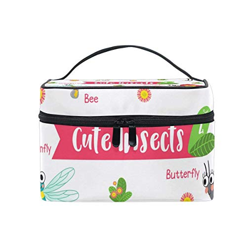 Makeup Bags Organizer Insects Dragonfly Butterfly Bee Ant Large Travel Cosmetic Beauty Storage Toiletry Pouch for Women