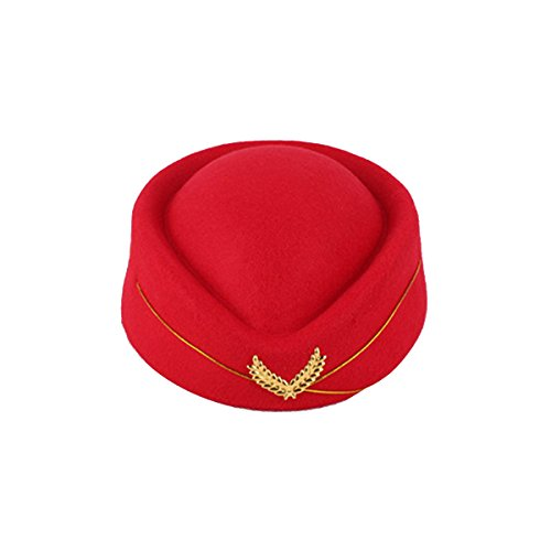 BESTOYARD Stewardess Hat Wool Cap Flight Attendant Hat Stewardess Cap For Costume Cosplay Costume accessories (Red) (Attendant Flight Hat)