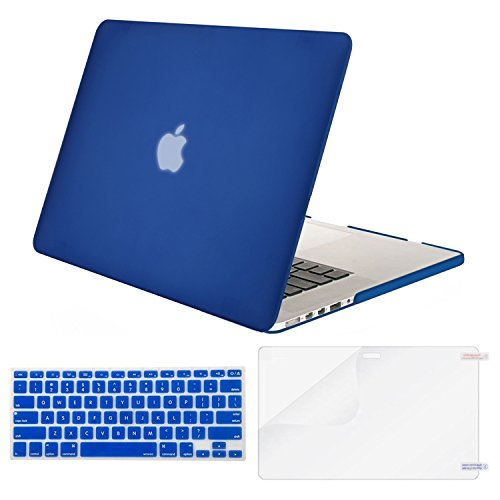 MOSISO Case Only Compatible MacBook Pro (W/O USB-C) Retina 13 Inch (A1502/A1425)(W/O CD-ROM) Release 2015/2014/2013/end 2012 Plastic Hard Shell & Keyboard Cover & Screen Protector, Royal Blue