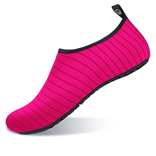 JIASUQI Aqua Mens Shoes Beach and Stripe Peach Water Womens Socks Summer Surf Yoga for Exercise Swim Outdoor rT1qrxg