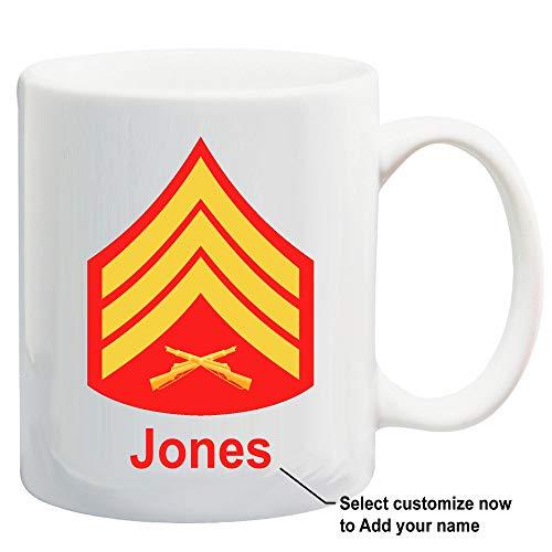 U.S. Marine Corps Customizable Rank Insignia Ceramic Coffee/Cocoa Mug by Carpe Diem Designs, Made in the U.S.A.