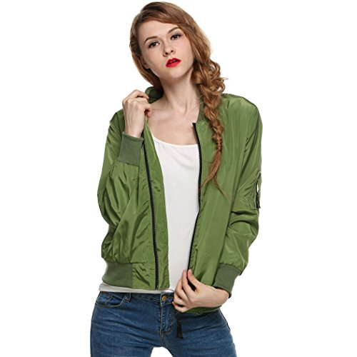 Celltronic Ladies Short Outerwear Women's Sport Casual Zip up Biker Bomber Jacket(Army Green,M)