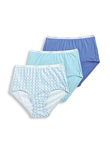 Jockey Women's Underwear Classic Brief - 3 Pack, Light Teal/Graceful Tile/Iris Blue, -