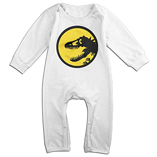 Kamici Inflant Dinosaur Logo Long Sleeve Romper Suit Climb Clothes White 24 Months