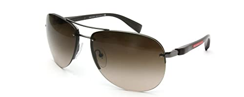 557bb91871c2 Prada Sport Half Rim Aviator Sunglasses in Gunmetal Brown Gradient ...