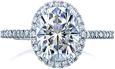 Kobelli Oval Moissanite Halo Engagement Ring 2 1/4 CTW 14k White Gold
