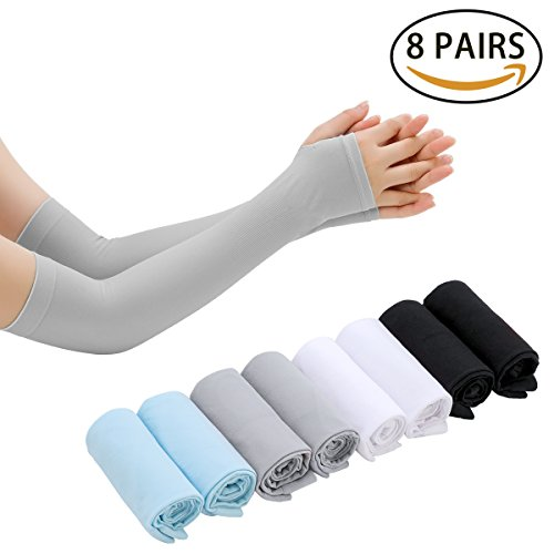 LISALIFE UV Sun Protection Cooling Arm Sleeves for Men & Women - Unisex Sun Sleeves Cover With Thumb Hole for Cycling,Running,Driving,Basketball,Hiking,Golf & Outdoor Activities(8 Pairs) by LISALIFE (Image #6)