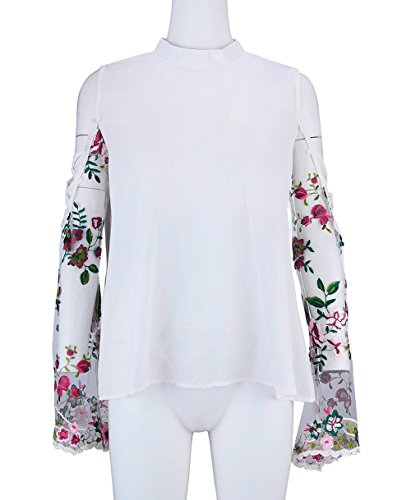 Casual Lache Tops Manches Tees t Haut Broderie pissure Blanc Col Rond Chic T Blouses Femme Longues Shirts Fashion xPxAY