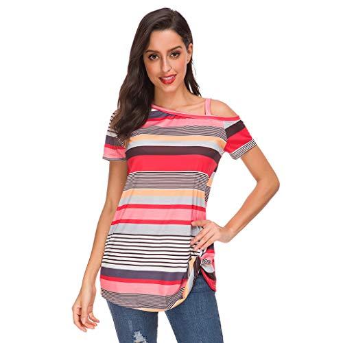 (POHOK Women's Hem Kinky Top Women Casual Summer Fashion Irregular Stripe Off Shoulder Short Sleeve Blouse(XL,Red))