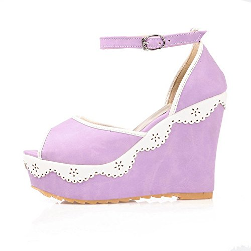 púrpura Señoras Adee bordadas sandalias poliuretano cuñas de Zx8wYSwTqU
