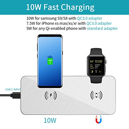 Wireless Charger for New AirPods Portable Charging Station for iPhone Xs//Xs Max//XR//X,Samsung S10//S10+//S9 and More , 3 in 1 Upgrade i.VALUX Wireless Charging Pad for Apple iWatch Series 5//4//3//2