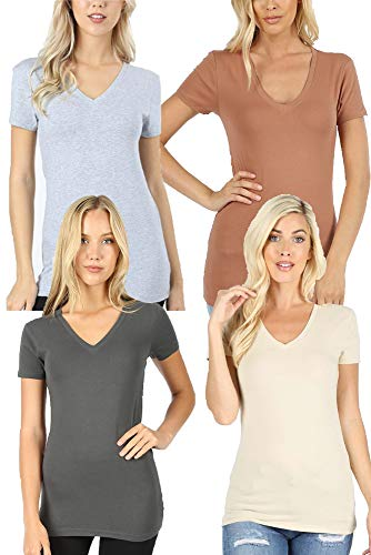 Tan Basic Tee - 4 Pack Zenana Women's Basic V-Neck T-Shirts - Ash Gray/Taupe/H Gray/Tan - Small