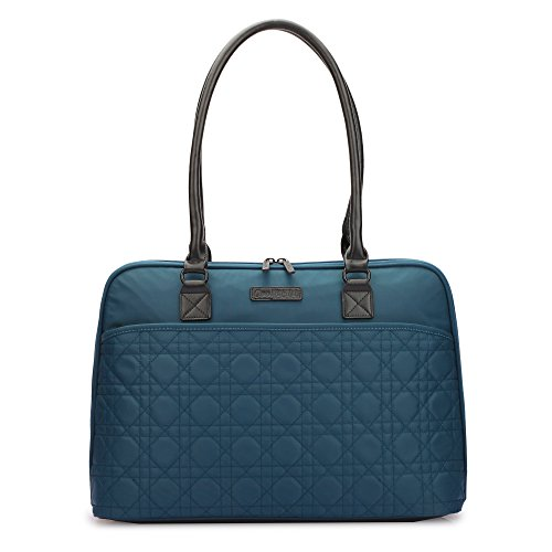 CoolBELL 15.6 Inch Laptop Tote Bag Women Handbag Nylon Briefcase Classic Shoulder Bag Top-Handle Bag for Laptop/Ultra-Book/Dell/Tablet / (Blue)