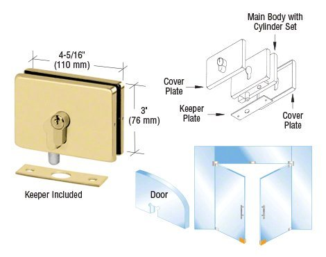 CRL Polished Brass Finish EUR Series Glass Mounted Patch Lock with European Style Keyhole (Glass Mounted Patch Lock)