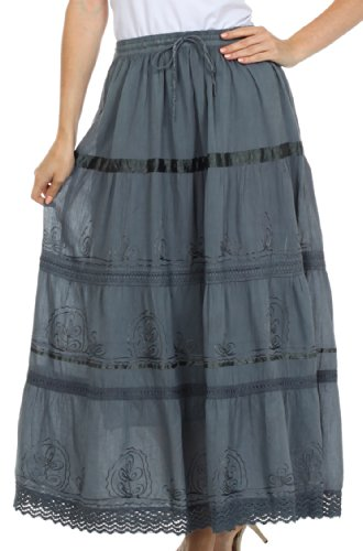 AA554 - Solid Embroidered Gypsy / Bohemian Full / Maxi / Long Cotton Skirt - Gray/One Size