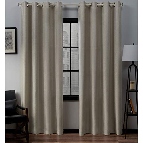 Exclusive Home Curtains Loha Linen Window Curtain Panel Pair with Grommet Top, 54x108, Natural, 2 Piece