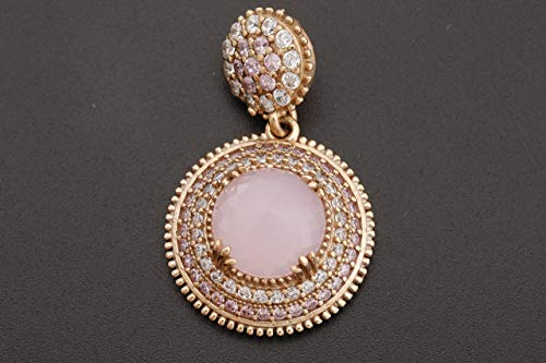 Turkish Handmade Jewelry Round Shape Pink Quartz and Round Cut Topaz 925 Sterling Silver Pendant