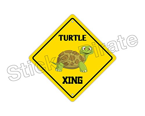 StickerPirate Turtle Crossing Funny Metal Novelty Sign Aluminum