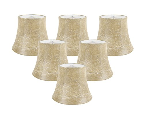 Meriville Set of 6 Faux Leather Clip On Chandelier Lamp Shades, 4-inch by 6-inch by 5-inch