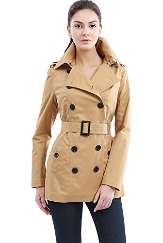 Womens Short Trench - BGSD Women's Evelyn Classic Hooded Short Trench Coat - Tan XS