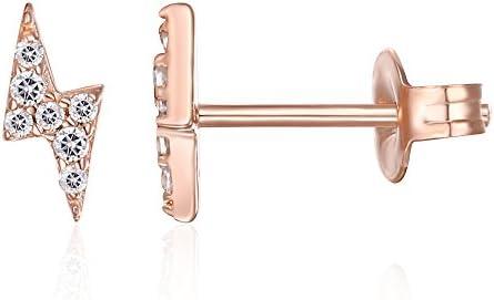 PAVOI 14K Gold Plated Sterling Silver Celestial Lightning Bolt, Moon and Star Earrings | Dainty Earrings for Women