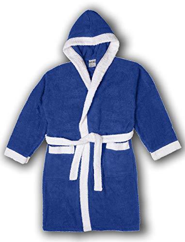 Girls/Boys 100% Cotton Hooded Robe Kids Terry Cloth Bathrobe KR01_Y19 Royal Blue 12