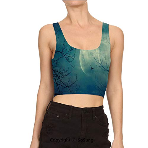 Women's U-Collar Sleeveless Full Moon in Sky and Backless -