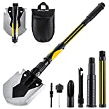 OKOOLCAMP Survival Camping Shovel Military Multifunctional Folding Shovel 15-28inch Heavy Duty Alloy Steel Tactical Shovel with Saw for Hiking, Backpacking, Gardening, Hunting, Car Emergency, Snow