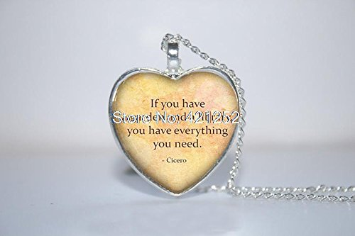 Pretty Lee 2015 Fashion Cicero Quote Heart Pendant If You Have A Garden And A Library Book Heart Necklace Glass Photo Cabochon Necklace Christmas gift
