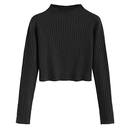 ZAFUL Women's Mock Neck Long Sleeve Ribbed Knit Pullover Crop Sweater (Black, M)