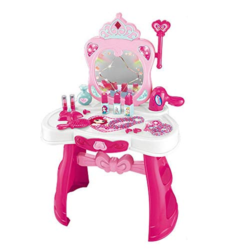 Children's Vanity Beauty Dresser Table Play Studio Vanity Table Dresser Beauty Play Pretend Play Mirror Toys Set for Toddlers Kids Boys Girls Toy for Kids Girls