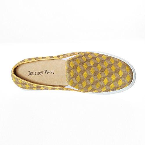 Viaggio West Donna Cavallo Fur Laser Intaglio Slip-on Slip-on Mocassino Casual Mocassini Moda Sneaker Giallo / Rosso Vino 1-giallo