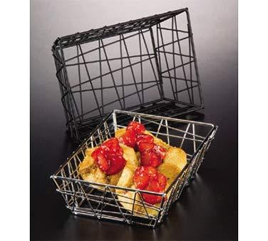 "American Metalcraft BZZ95B Small Rectangular Metal Wire Zorro Bread Basket, 9"" L x 6"" W, Black"