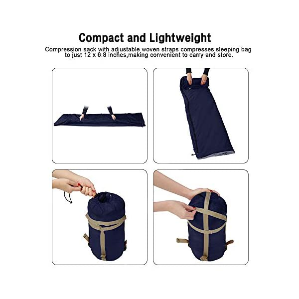 Bessport Lightweight Sleeping Bag, 800g Camping Sleeping Bag for 3 Season with Compression Sack Fits Kid/Adults Traveling, Backpacking, Hiking, Outdoor Activities 8